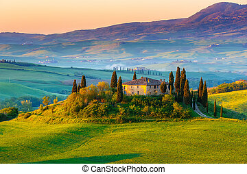 tuscany, landscape, zonopkomst