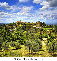 Tuscany, Montalcino medieval village, fortress and church. ...