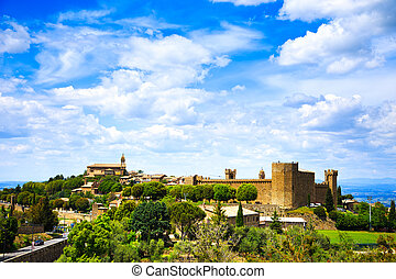 Tuscany, Montalcino medieval village, fortress and church. Siena