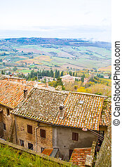 Panoramic landscape aeral view at Tuscany, Italy