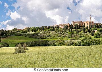 tuscany, pienza, aanzicht