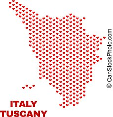 Tuscany Region Map - Mosaic of Valentine Hearts - Mosaic...