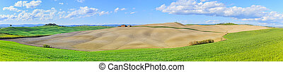 Tuscany, rural landscape in Crete Sensi land. Plowed rolling hills, countryside farm, cypresses trees, green field and blue sky. Siena, Italy, Europe.