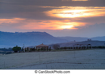 Tuscany, rural sunset landscape