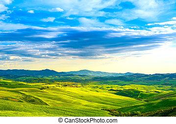 Tuscany, rural sunset landscape. Countryside farm, white...