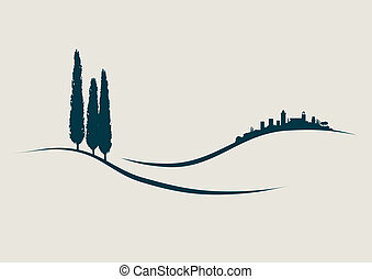 tuscany, san, pokaz, ilustracja, stylizowany, gimignano,...