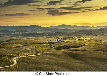 Tuscany spring, rolling hills, rural, road and green fields on sunset. Rural landscape. Italy