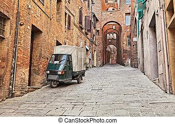 tuscany, stad, steegje, italy:, oud, siena, oud