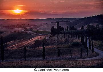 Tuscany Sunset Landscape