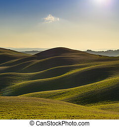 Tuscany, sunset rural landscape. Rolling hills and farmland....