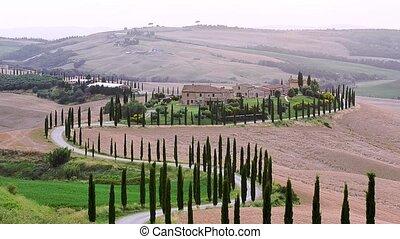 Tuscany twilight house - Tuscany twilight rural landscape...