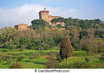 tuscany, val, italy., krajobraz, d'orcia, valley.