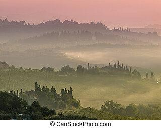 tuscany, vila, paisagem, ligado, um, nebuloso, manhã, em, agosto