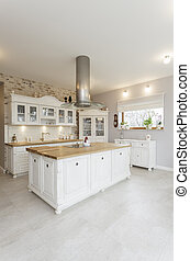 Tuscany - white kitchen - Tuscany - interior of white...