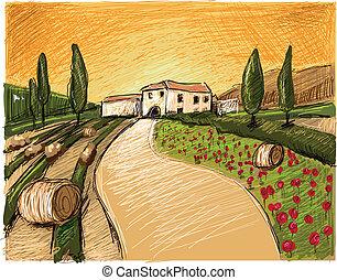 tuscany, wieczorny