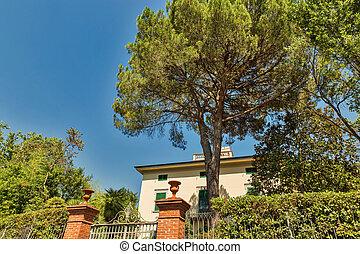 tuscany, woongebied, landelijk, italy., architectuur