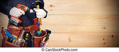 tusenkonstnär, med, a, verktyg, belt.