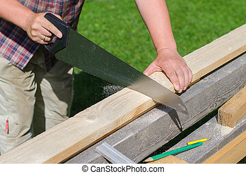 tusenkonstnär, sågning, länge, trä planka, utomhus