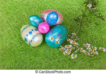 tusenskönor, påsk, frisk, ägg, vit