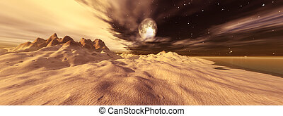 Tusken Moon - Digital created fantasy scene.
