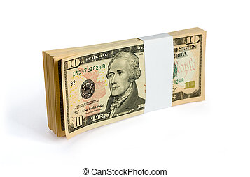 tuss, av, 10, dollar, sedlar