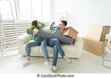 tussen, krachtmeting, vrouwen, gezin, ruzie, deling, divorce., eigendom, andere., echtgenoot, vecht, elke, men., strijd, vrouw