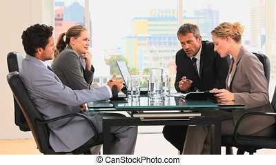 tussen, vergadering, zakenlui