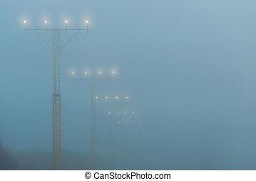tussenverdieping, lichten, luchthaven, nevelig, gedurende,...