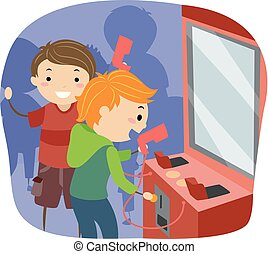tussenvoegsel, geitjes, stickman, arcade, illustratie, jongens, munt