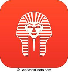 Tutankhamen mask icon digital red for any design isolated on...