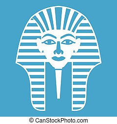 Tutankhamen mask icon white isolated on blue background...