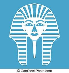 Tutankhamen mask icon white isolated on blue background...