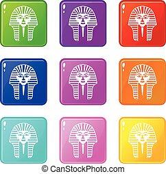 Tutankhamen mask icons 9 set - Tutankhamen mask icons of 9...