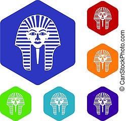 Tutankhamen mask icons set hexagon isolated vector...