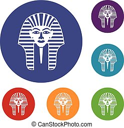 Tutankhamen mask icons set in flat circle red, blue and...