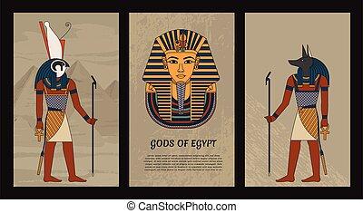 tutankhamun., 有色人種, マスク, 神, 10., 古代, style., horus, eps, エジプト, イラスト, エジプト人, 型, ファラオ, ベクトル, anubis, シンボル