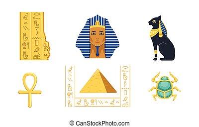 tutankhamun, 歴史的, オオタマオシコガネ, ベクトル, ankh, イラスト, bastet, コレクション, シンボル, ピラミッド, 文化, エジプト, 伝統的である