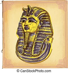 Tutankhamun - An hand drawn vector sketch, freehand, colored line art