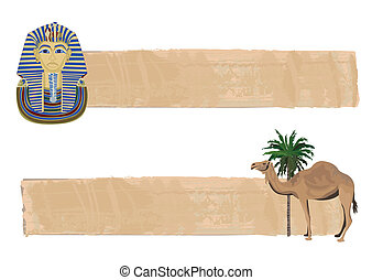 Tutankhamun and Camel Banners - Papyrus banners with...