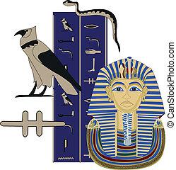 Tutankhamun and Hieroglyphs - Illustration of Tutankhamun...