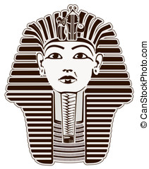 Tutankhamun Egyptian Pharaoh outline. Golden Mask likeness