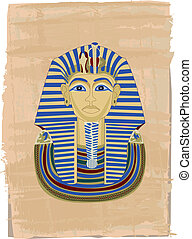 Tutankhamun portrait illustrated on papyrus