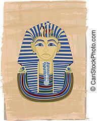 Tutankhamun portrait illustrated on papyrus