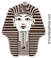 Tutankhamun Egyptian Pharaoh outline. Golden Mask likeness
