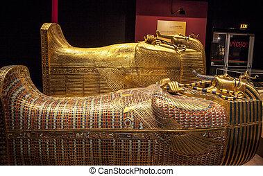 BRATISLAVA, SLOVAKIA - DECEMBER 14: Sacrophagus at Tutankhamun's tomb at the Tutankhamun exhibition on December 14, 2014 in Bratislava