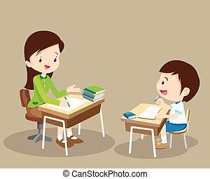 tutor, mulher, tutoring, professor, criança
