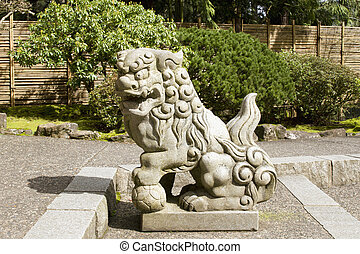 tutore, pietra, leoni, giapponese, scultura