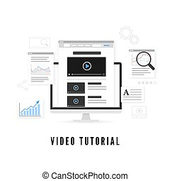 Tutorial and study course online concept. Online education. Vector illustration