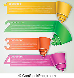 Tutorial curled paper strips eps10 vector illustration