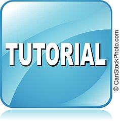 tutorial icon - illustration of blue square icon for...
